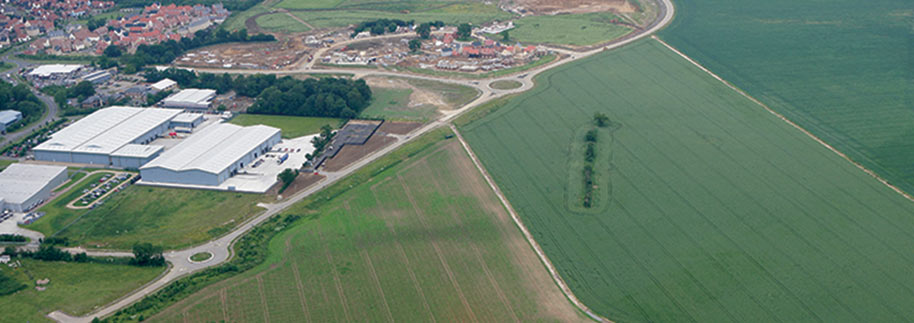 Aerial shot of Bury St Edmunds business park