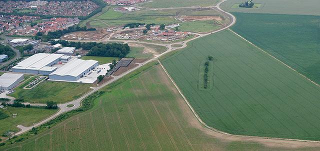 Aerial shot of Bury St Edmunds business park